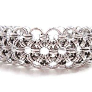 Japanese Lace Wide Silver Cuff Bracelet