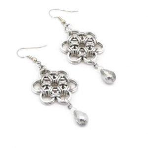 Cherry Blossom Silver Flower Earrings