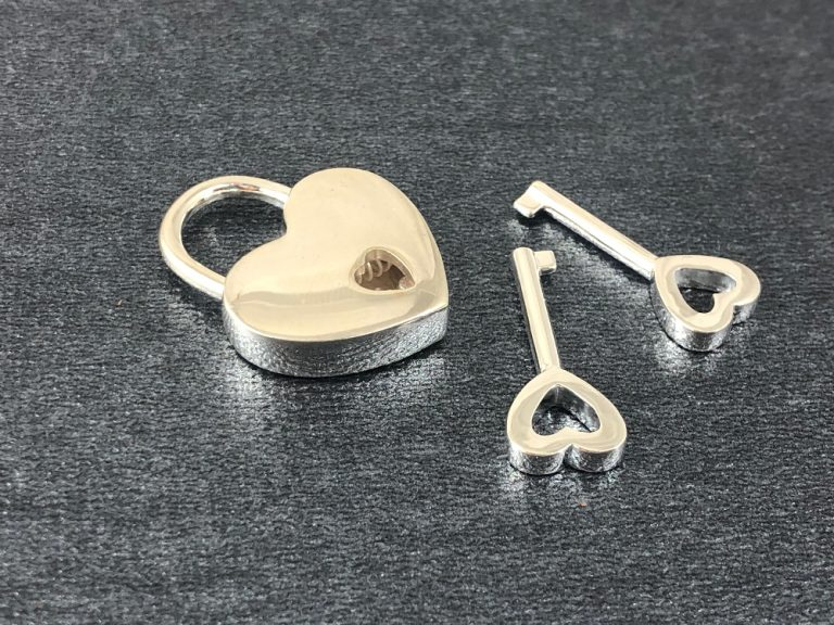 silver heart padlock nickel free