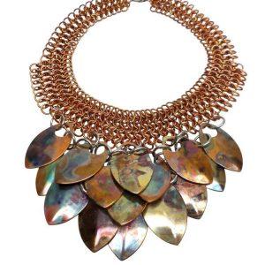 Phoenix Rising Colored Copper Statement Necklace