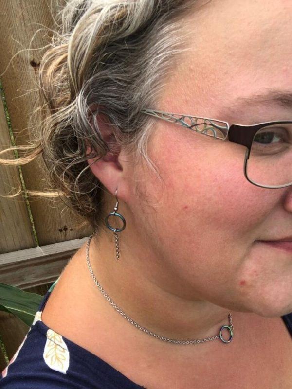 rainbwe ring earrings