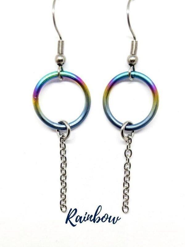 Rainbow titanium circle earrings