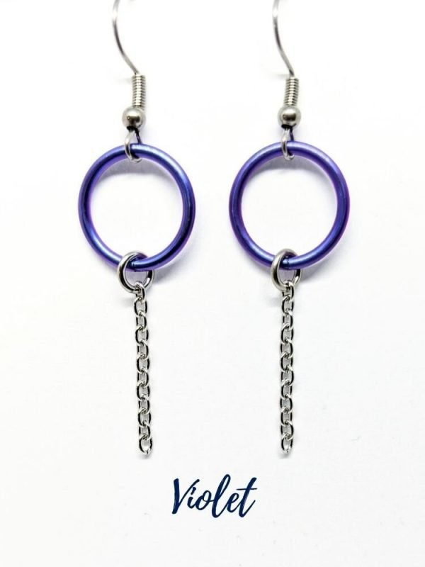 purple eternity ring earrings