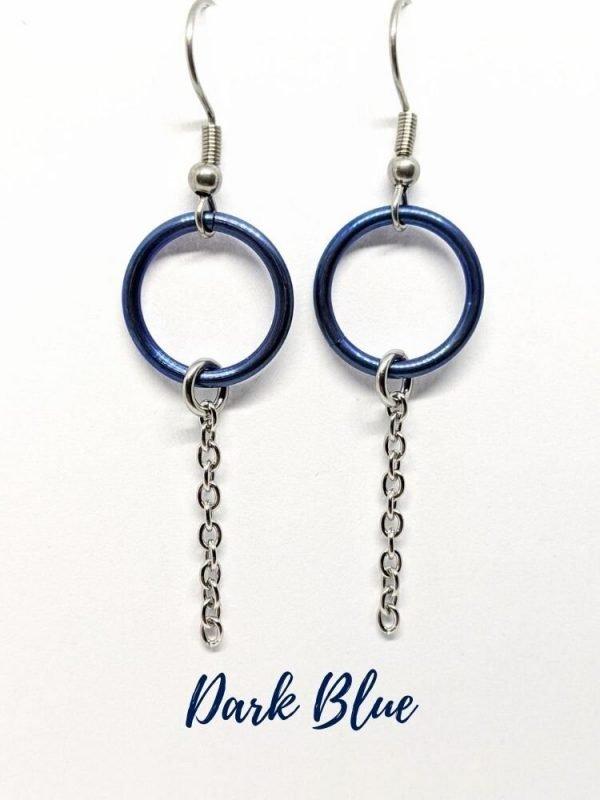 blue drop circle earrings