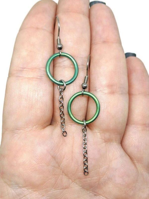 Green Titanium Circle Drop Earrings