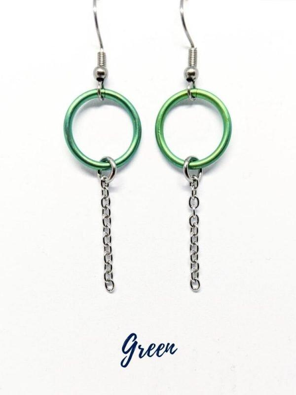 Green Eternity ring Earrings
