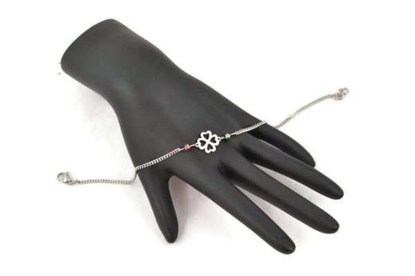 4 leaf clover bracelet in stainless steel by serenity in chains