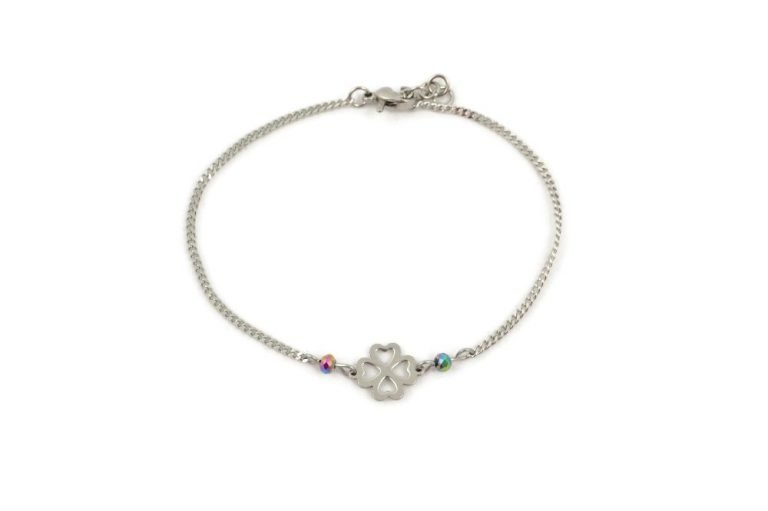 Lucky clover bracelet in stainless steel by serenity in chains