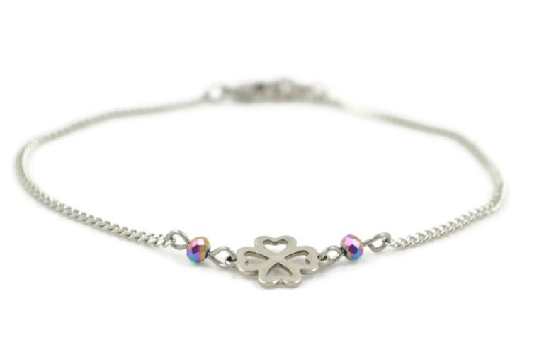 clover anklet in stainless steel by serenity in chains