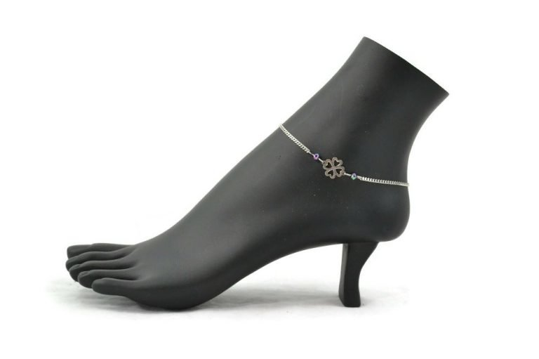 lucky clover ankle bracelet in stainless steel by serenity in chains