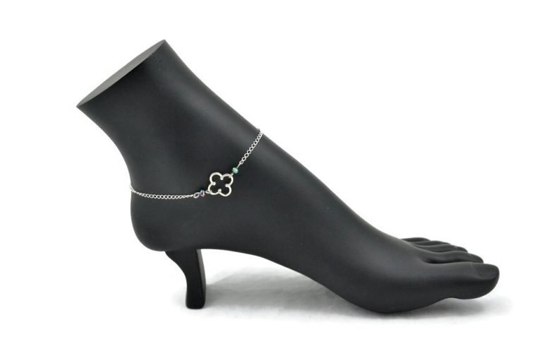 sterling silver clover ankle bracelet by serenity in chains