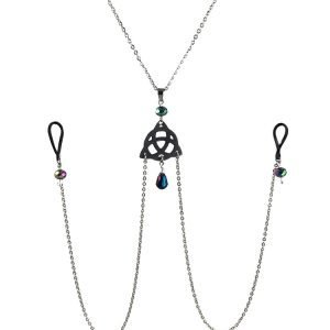 Triquetra Celtic Knot Nipple Chain in Stainless Steel