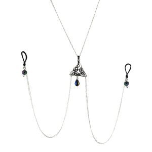 Sterling Silver Triquetra Celtic Knot Nipple Chain