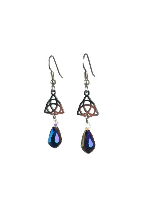celtic knot dangle earring with blue crystal drop in stainless steel celtic luck by serenity in chains