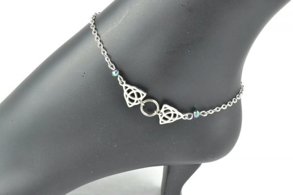 silver celtic knot ankle bracelet slave collar in stainless steel celtic luck by serenity in chains