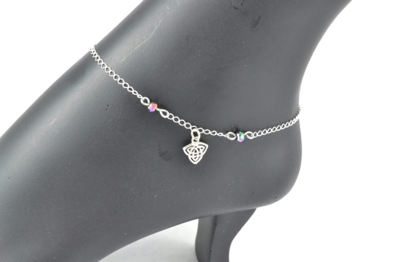 silver celtic knot ankle bracelet sterling silver celtic luck by serenity in chains