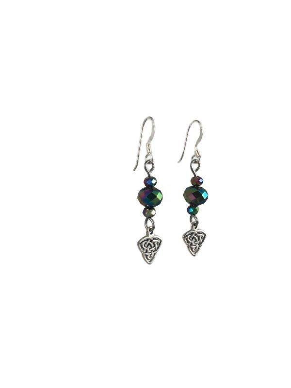 sterling silver celtid knot dangle earrings serenity in chains