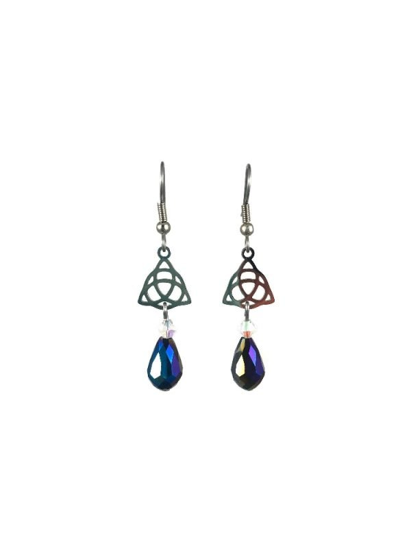 triquetra dangle earrings in silver with blue crystal drop in stainless steel celtic luck by serenity in chains